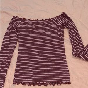 off the shoulder stripped long sleeve